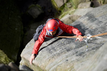 Kelly Holmes on Stanage Edge. Photo: Alex Messenger/BMC