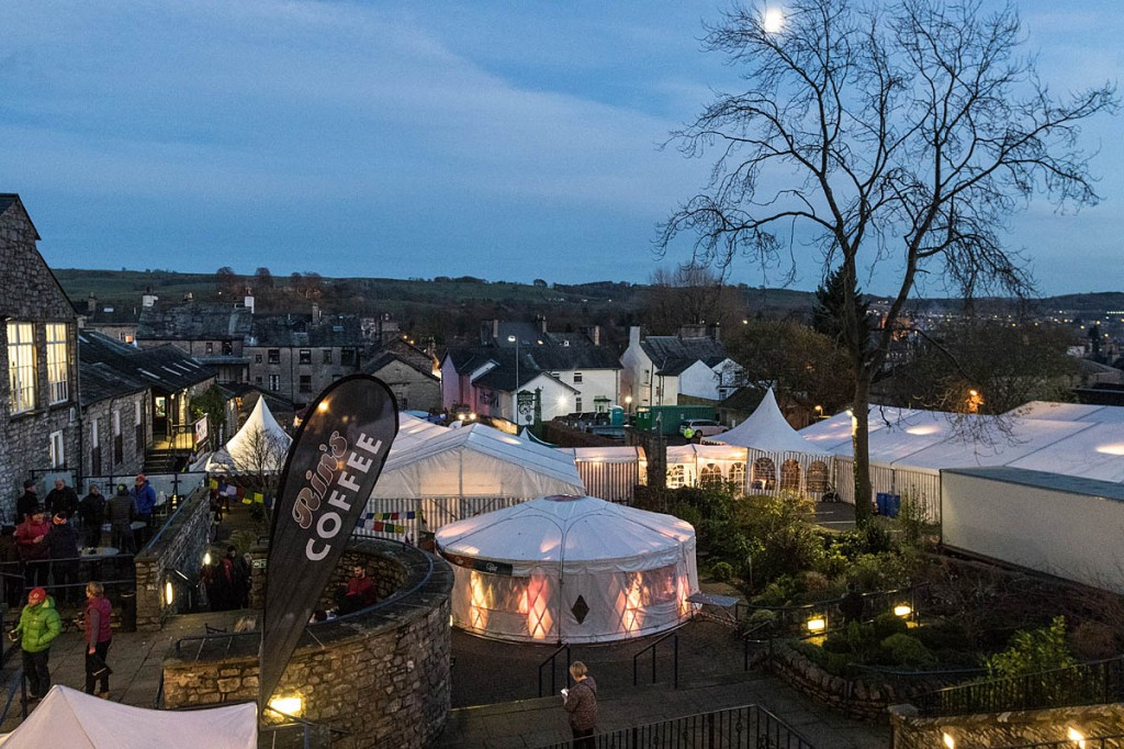 The main Kendal Mountain Festival site at the Brewery Arts Centre. Photo: Bob Smith/grough