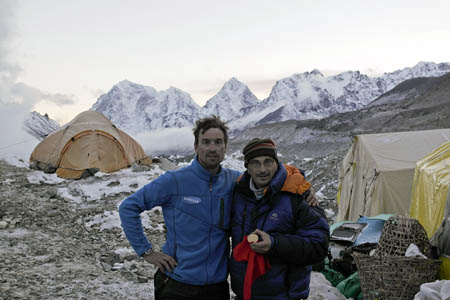 Kenton Cool and Keith Partridge at Base Camp