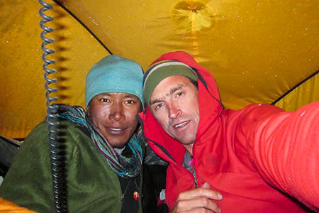 In the year of the selfie, Kenton Cool and Sherpa Dorje Gylgen prepare for the push on Everest