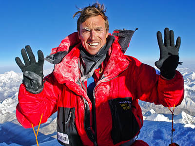 Kenton Cool celebrates his 2011 ninth Everest summit