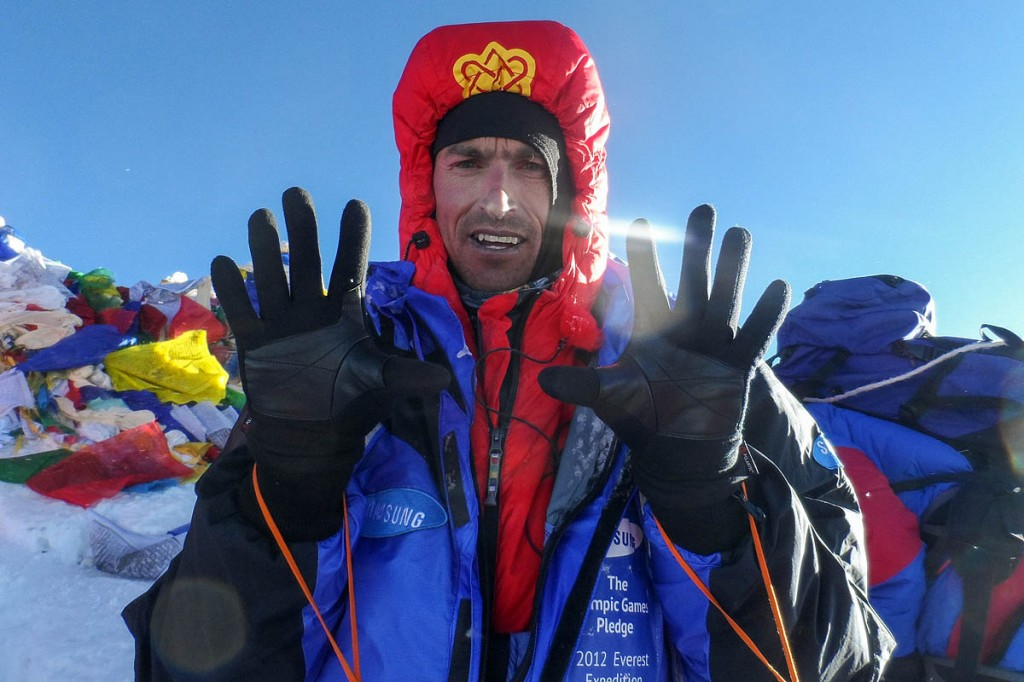 Kenton Cool on the summit of Everest during a previous expedition