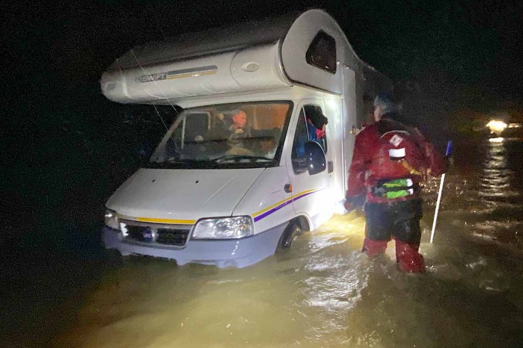 Rescue team members at work during the flood. Photo: Keswick MRT