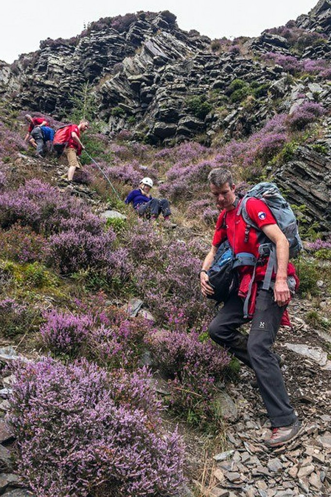 Team members in action during the rescue. Photo: Keswick MRT