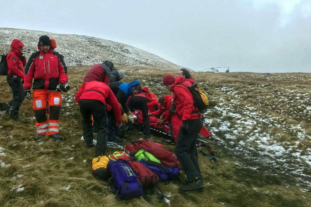 Rescuers at the scene on Blease Fell. Photo: Keswick MRT