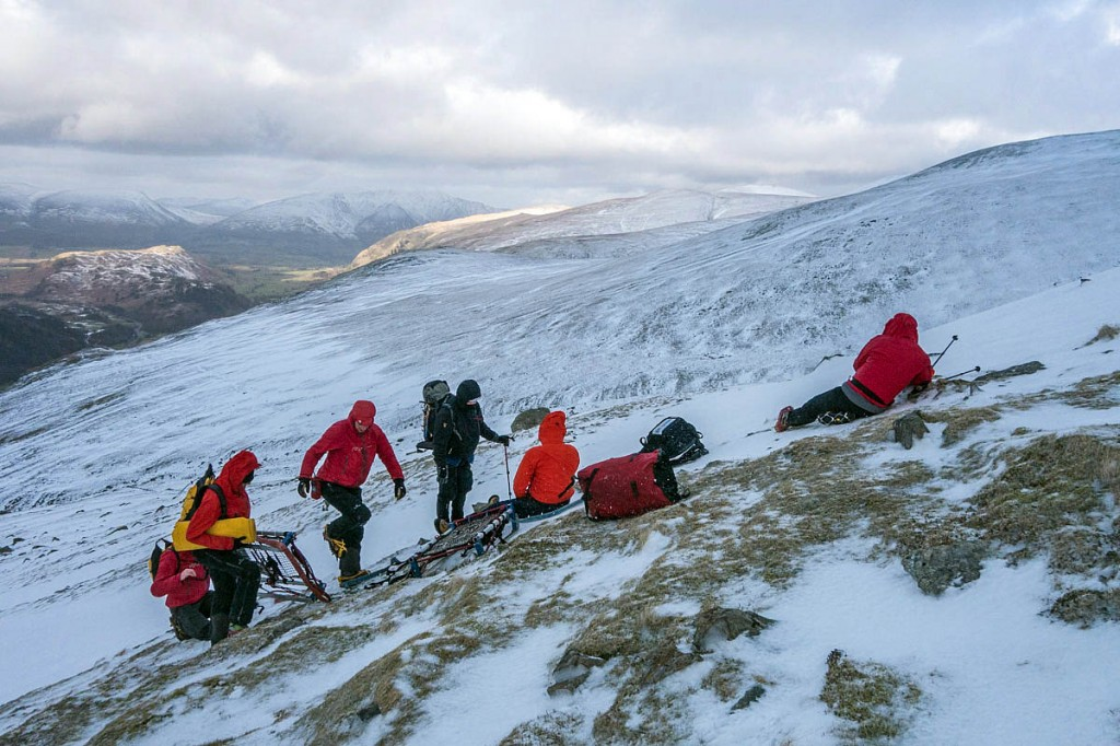 Rescuers at the scene on the western slopes of Helvellyn. Photo: Keswick MRT