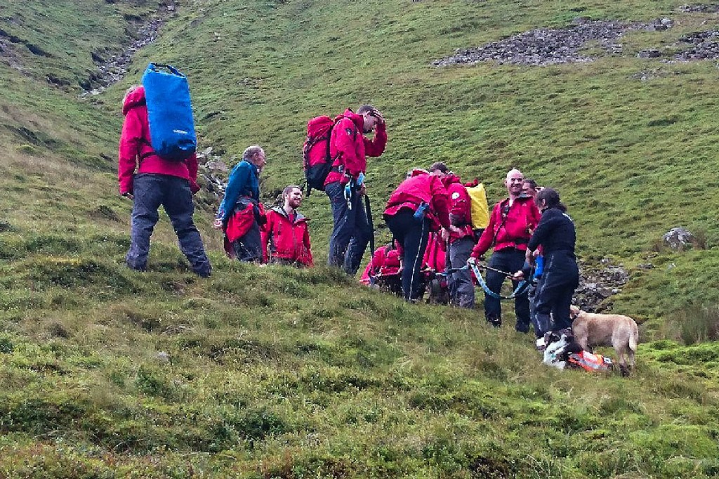 Rescuers at the site near Force Crag Mine. Photo: Keswick MRT