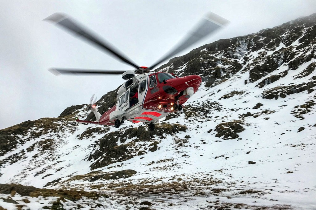 The Coastguard helicopter at the site. Photo: Keswick MRT