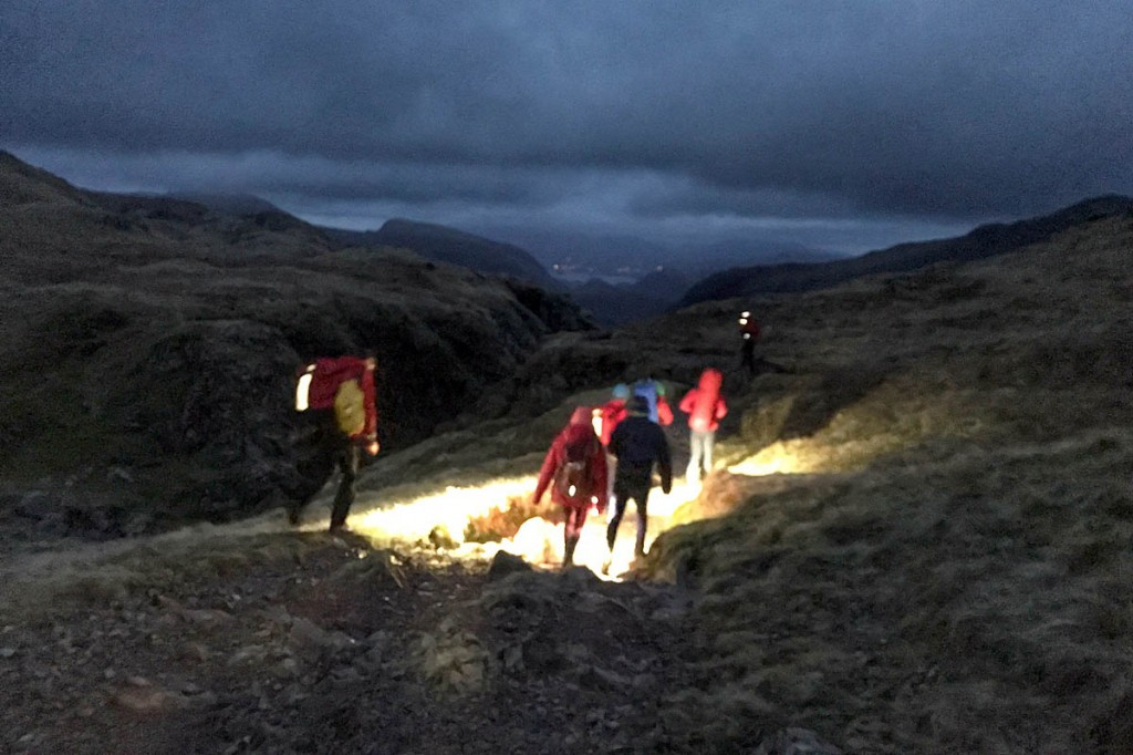 Rescuers led the two walkers to safety from Great End. Photo: Keswick MRT