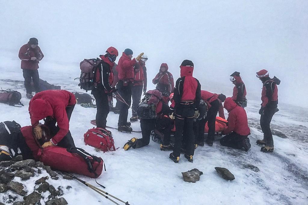 Rescuers at the scene of the man's slip. Photo: Keswick MRT
