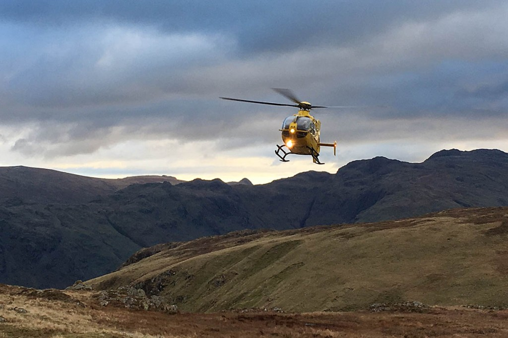 The air ambulance at the site at Rigg Head. Photo: Keswick MRT