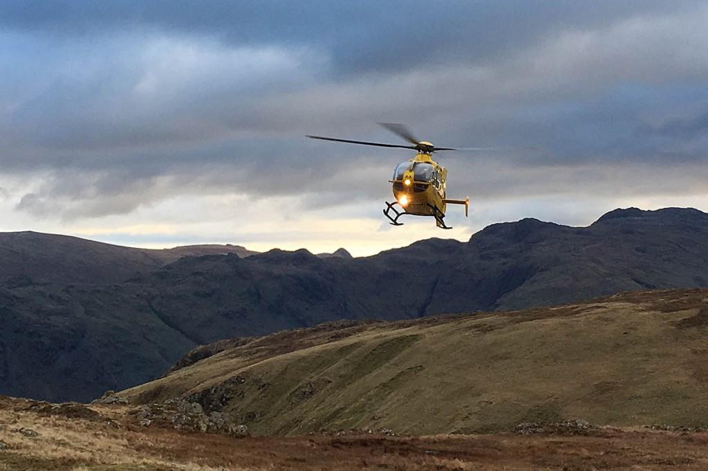 The air ambulance at the site at Rigg Head. Photo: Keswick MRT