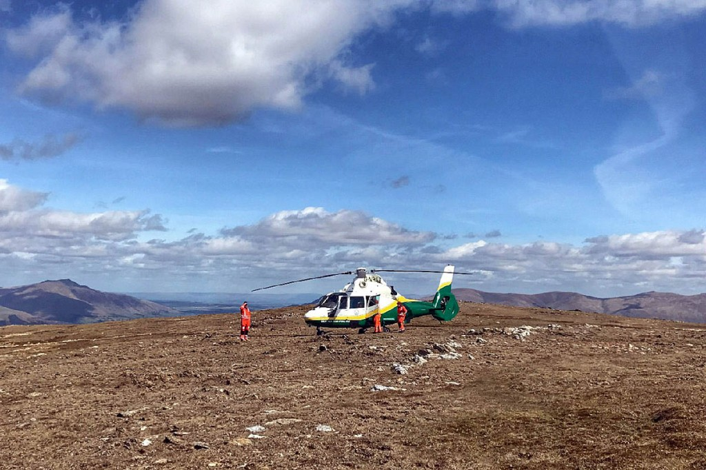 The Great North Air Ambulance at the scene on Robinson. Photo: Keswick MRT