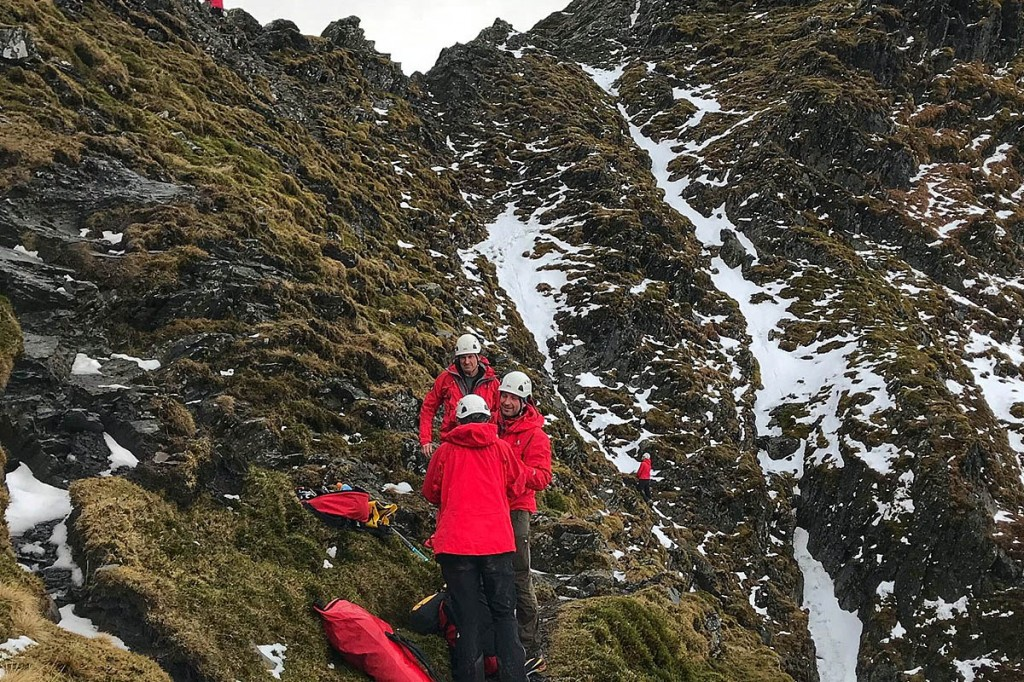 Rescuers at the scene at Sharp Edge. Photo: Keswick MRT