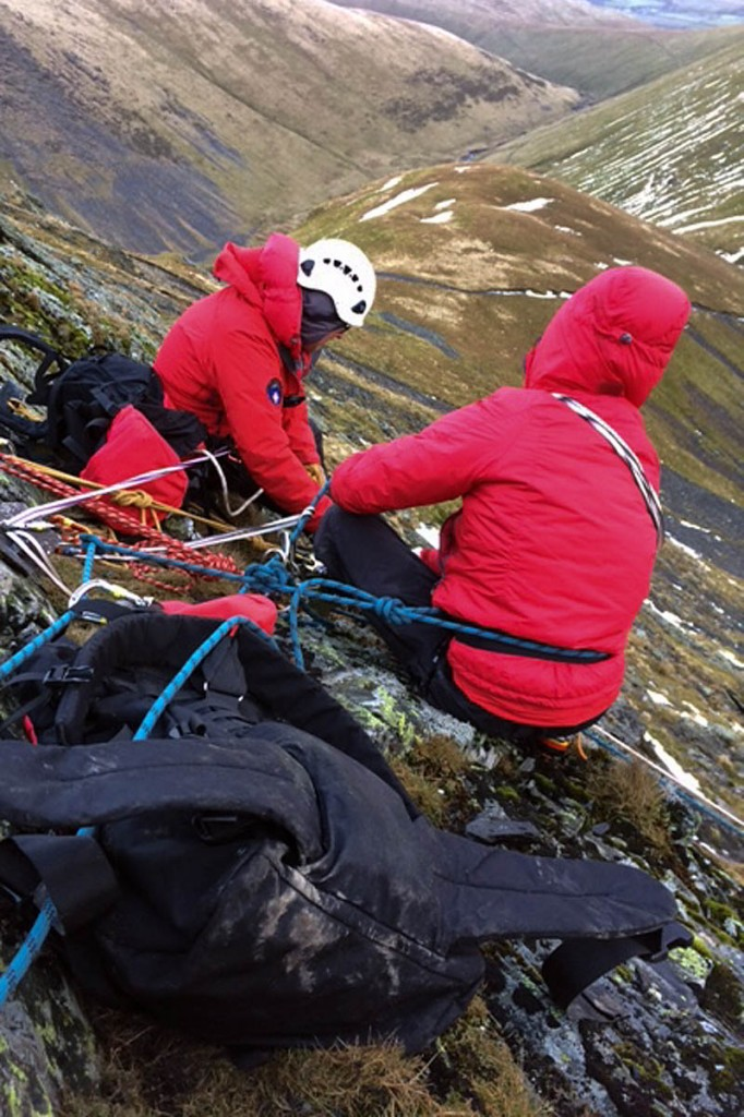 Rescuers at the scene of the incident on Blencathra. Photo: Keswick MRT