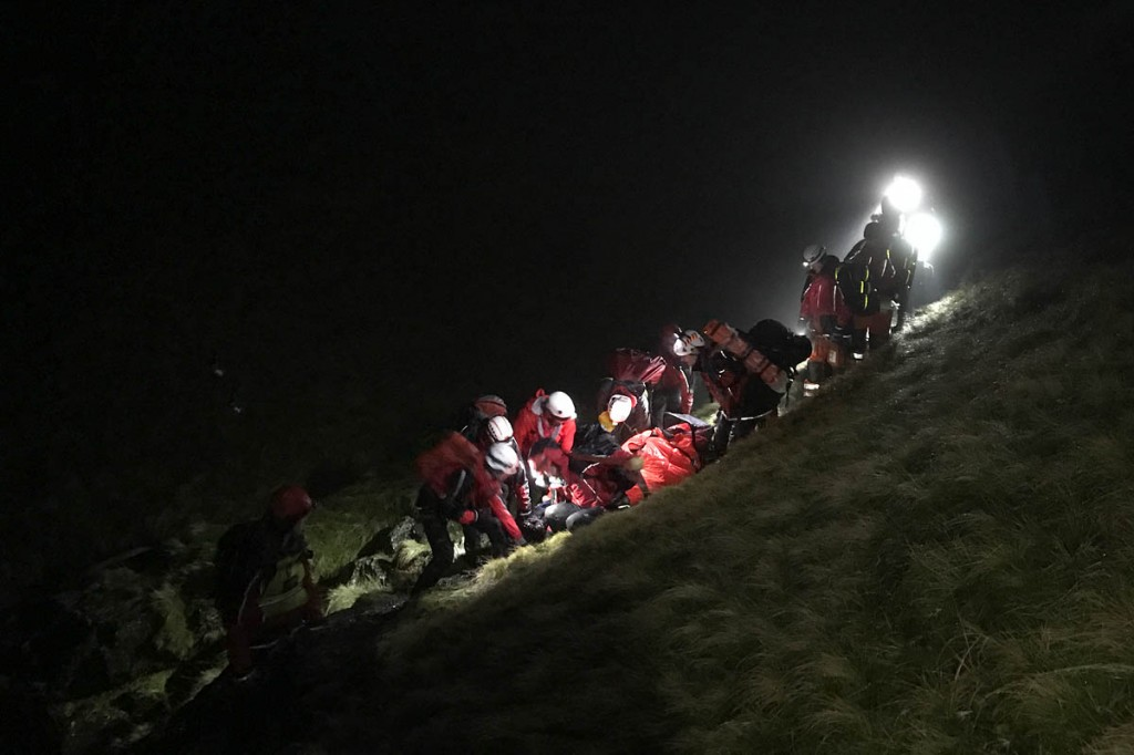 Rescuers at the scene after the man fell from Sharp Edge. Photo: Keswick MRT