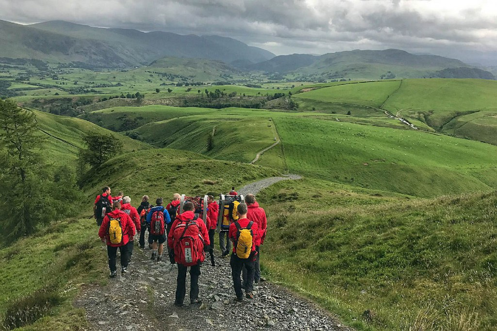 Rescuers descend Skiddaw during the Little Man rescue. Photo: Keswick MRT