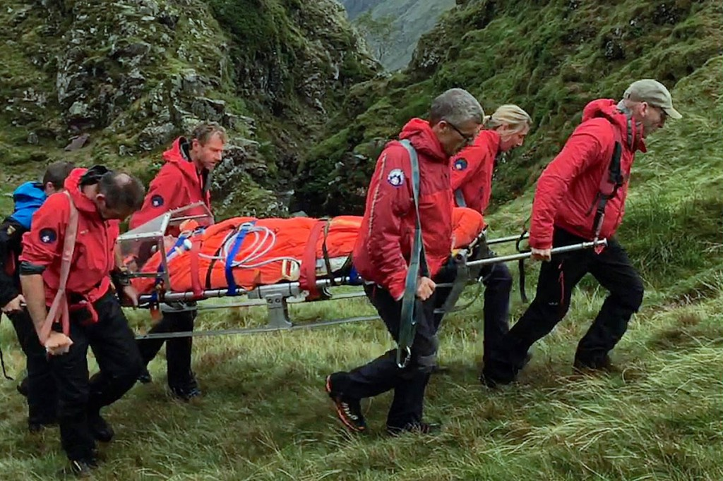 The injured man is stretchered from the fell. Photo: Keswick MRT