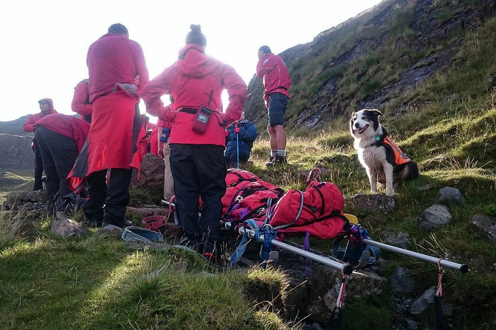 Rescuers at the scene of the rescue near Sprinkling Tarn. Photo: Keswick MRT