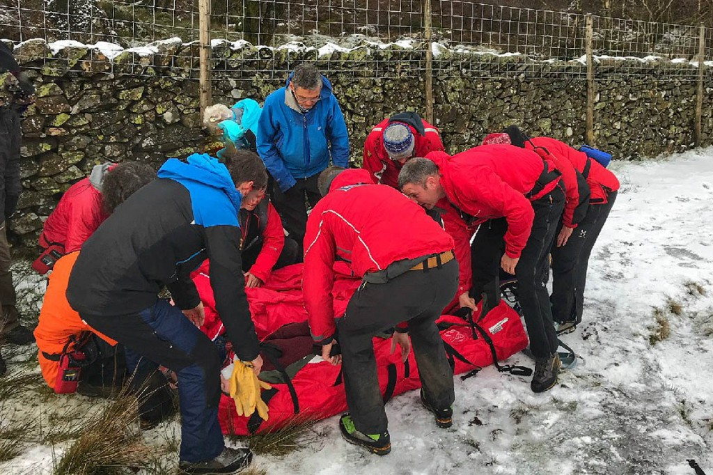 Rescuers at the scene of the incident on Walla Crag. Photo: Keswick MRT