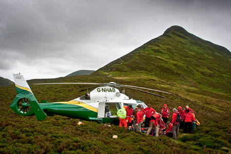 The Keswick team carried the walker down from Causey Pike to the air ambulance. Photo: Keswick MRT