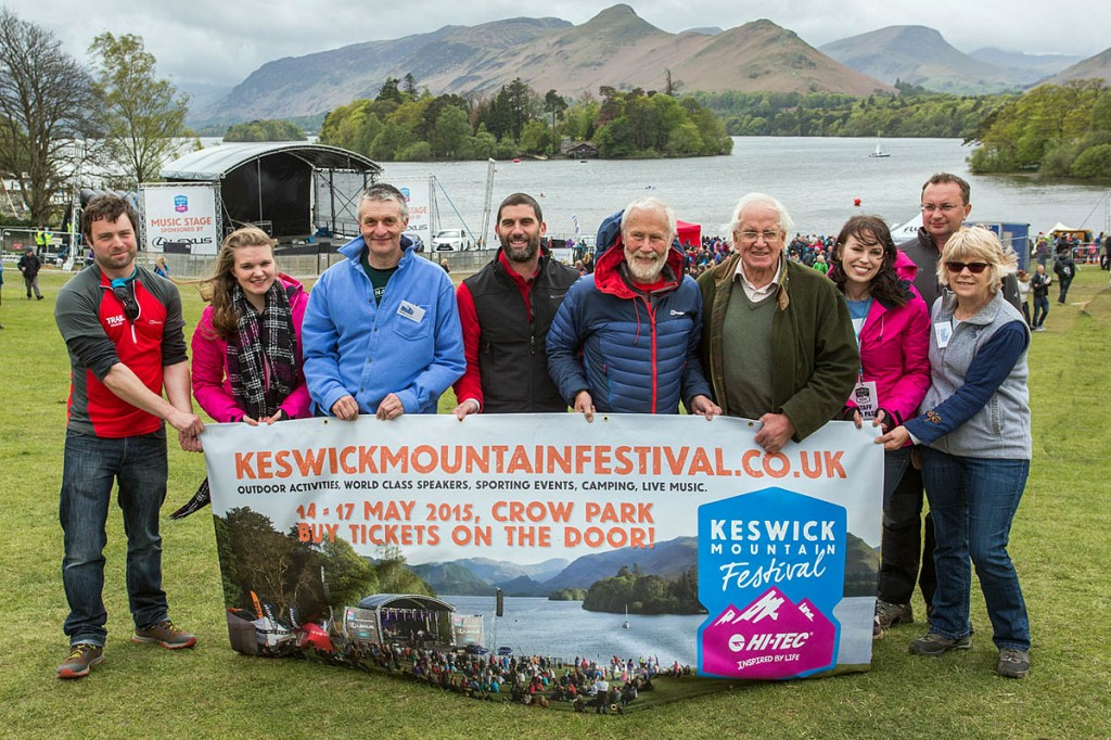Sir Chris Bonington and Doug Scott, centre right, are joined by fellow fundraisers at the festival. Photo: Stuart Holmes