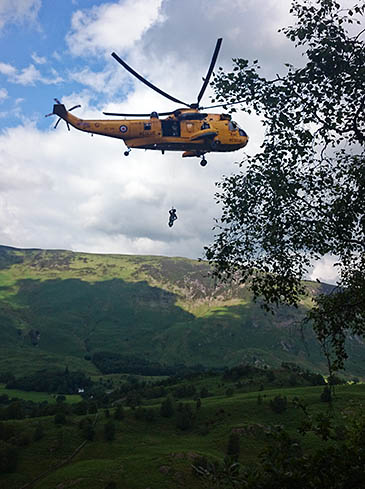 The RAF Sea King in action at Black Crag. Photo: Keswick MRT