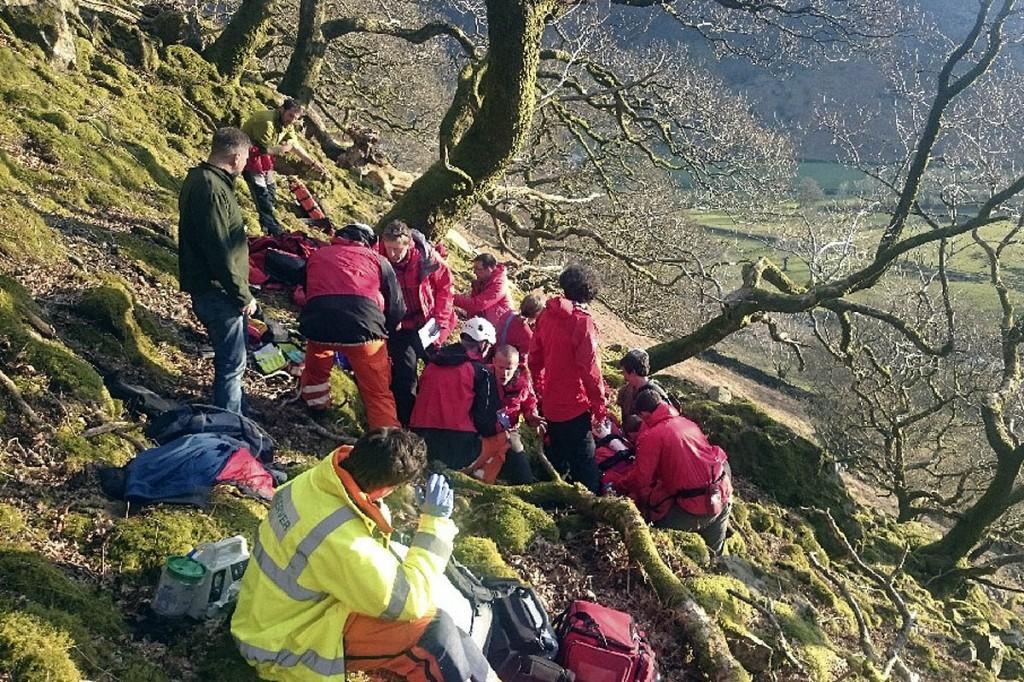Rescuers at the scene above Stonethwaite. Photo: Keswick MRT