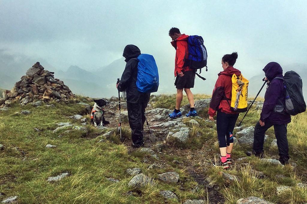 Rescuers and the search dog at the scene on the Glaramara ridge. Photo: Keswick MRT