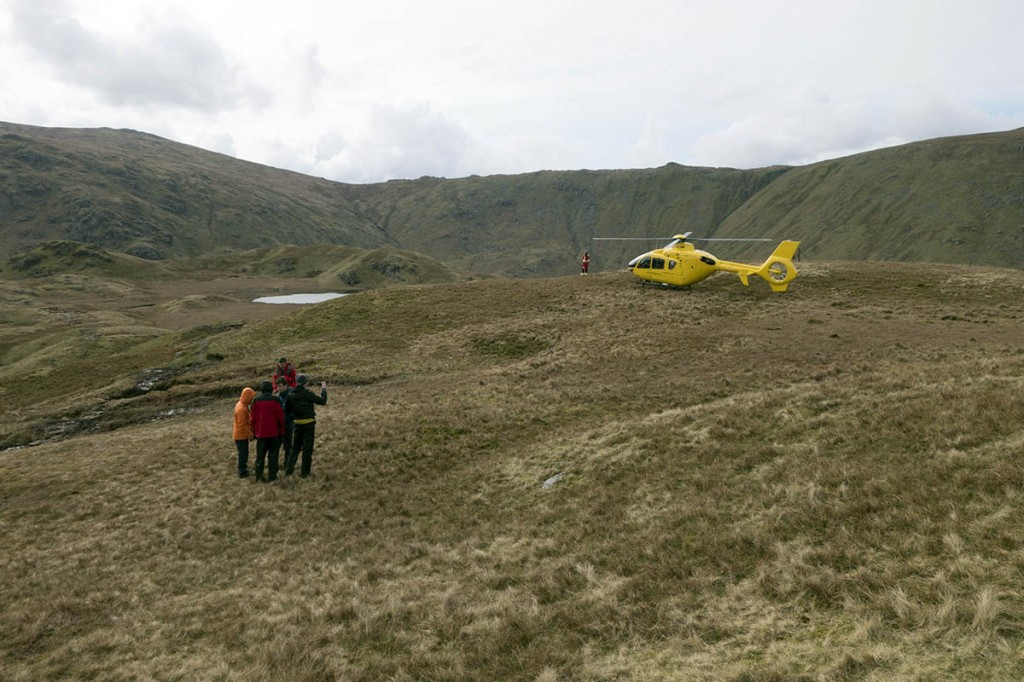 The air ambulance at the rescue scene on Greenup Edge. Photo: Keswick MRT