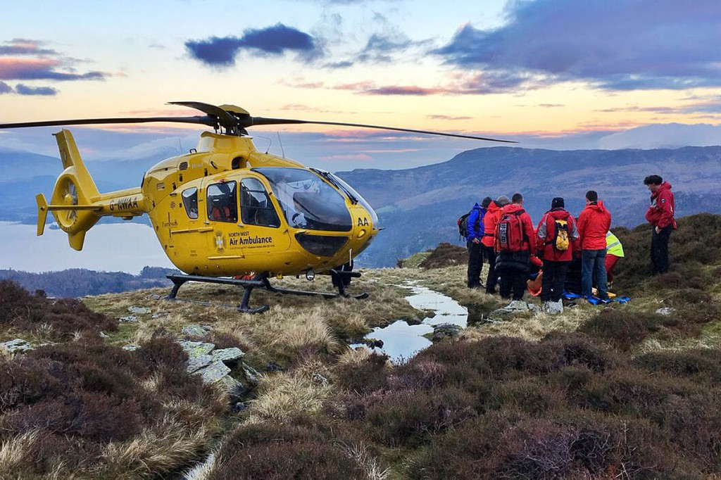 Rescuers and the North West Air Ambulance at the site above Borrowdale. Photo: Keswick MRT