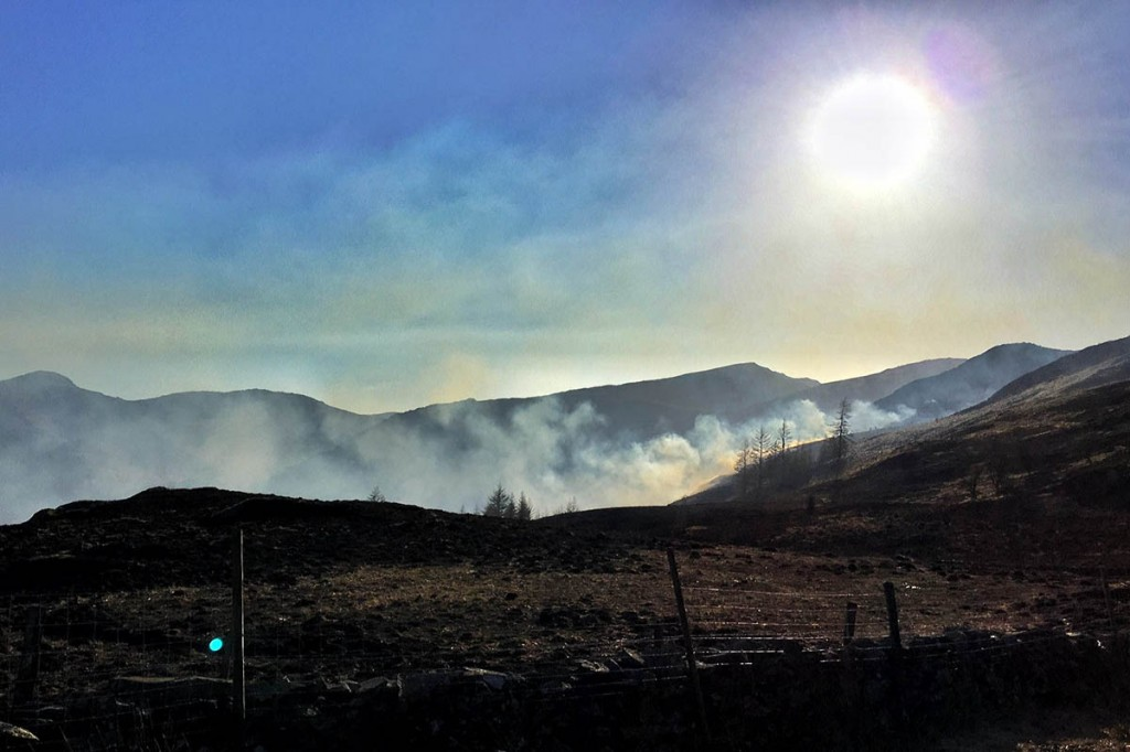 Smoke drifts across the fells from the fire on Joppley How. Photo: Keswick MRT