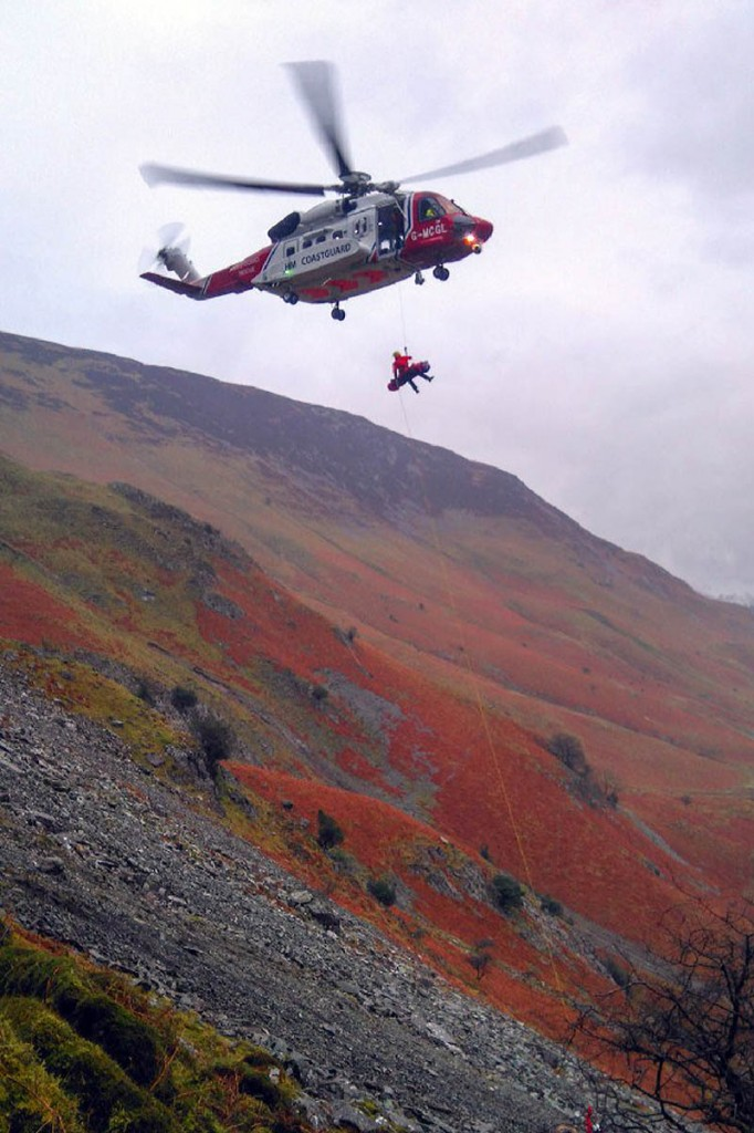 The injured walker is winched from the fell. Photo: Keswick MRT