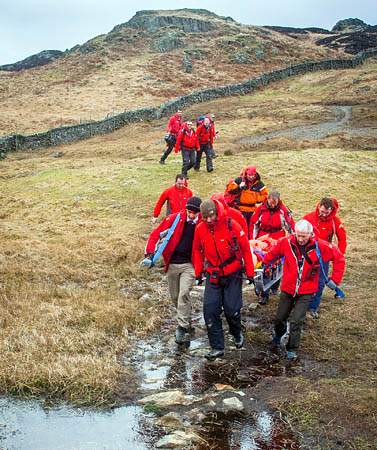 Keswick Mountain Rescue Team in action during the rescue on Puddingstone Bank near Watendlath