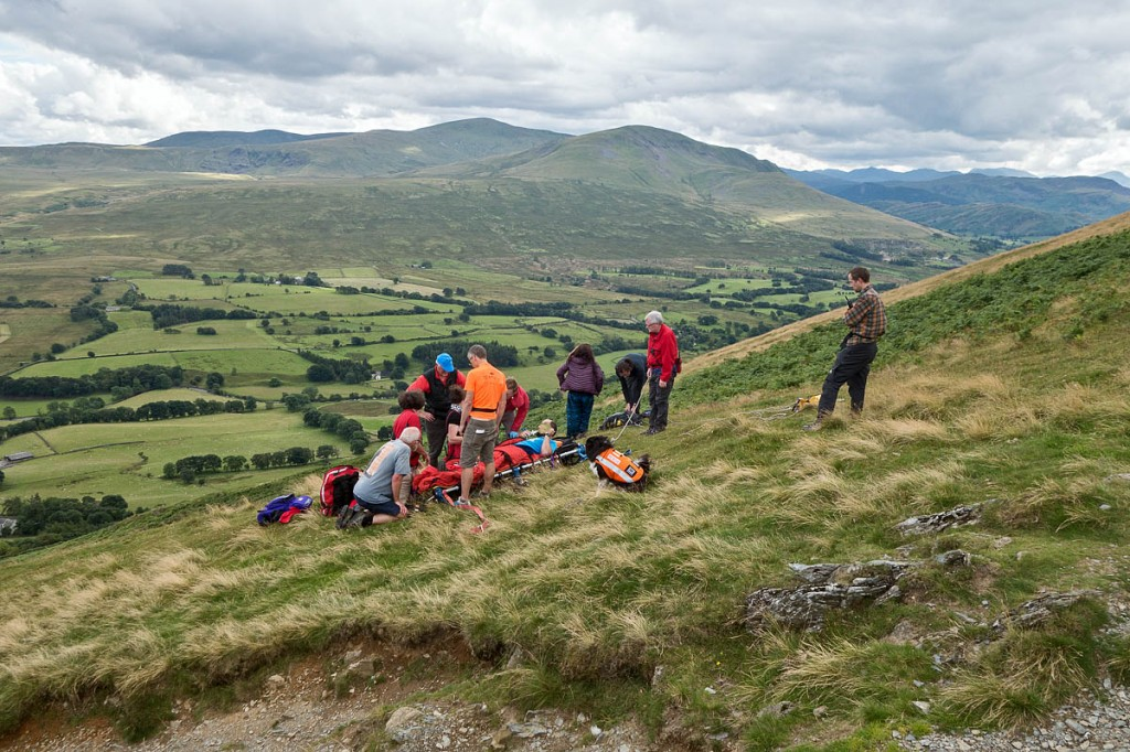 Rescuers at the scene on Scales Fell. Photo: Keswick MRT