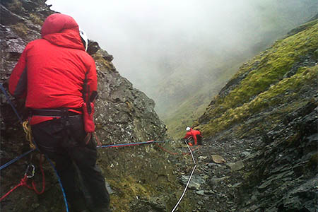 Rescuers in action on Sharp Edge during the incident. Photo: Keswick MRT
