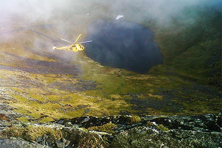 The Sea King in action during the rescue. Photo: Keswick MRT