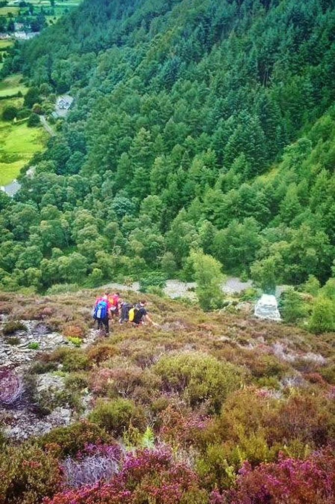 The man and his dog were brought to safety by the team. Photo: Keswick MRT