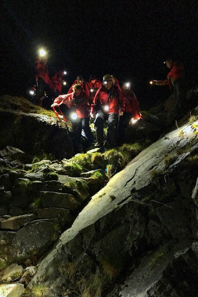 Rescuers in action in Sourmilk Gill. Photo: Keswick MRT