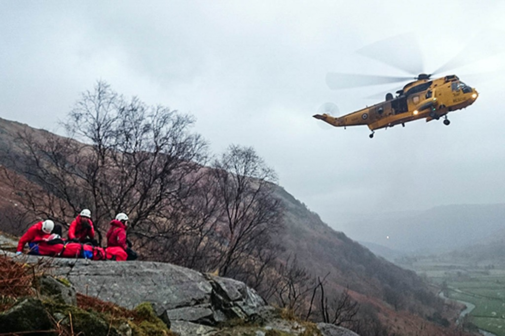 An RAF Sea King in action during one of the Keswick team's rescues this year. Photo: Keswick MRT