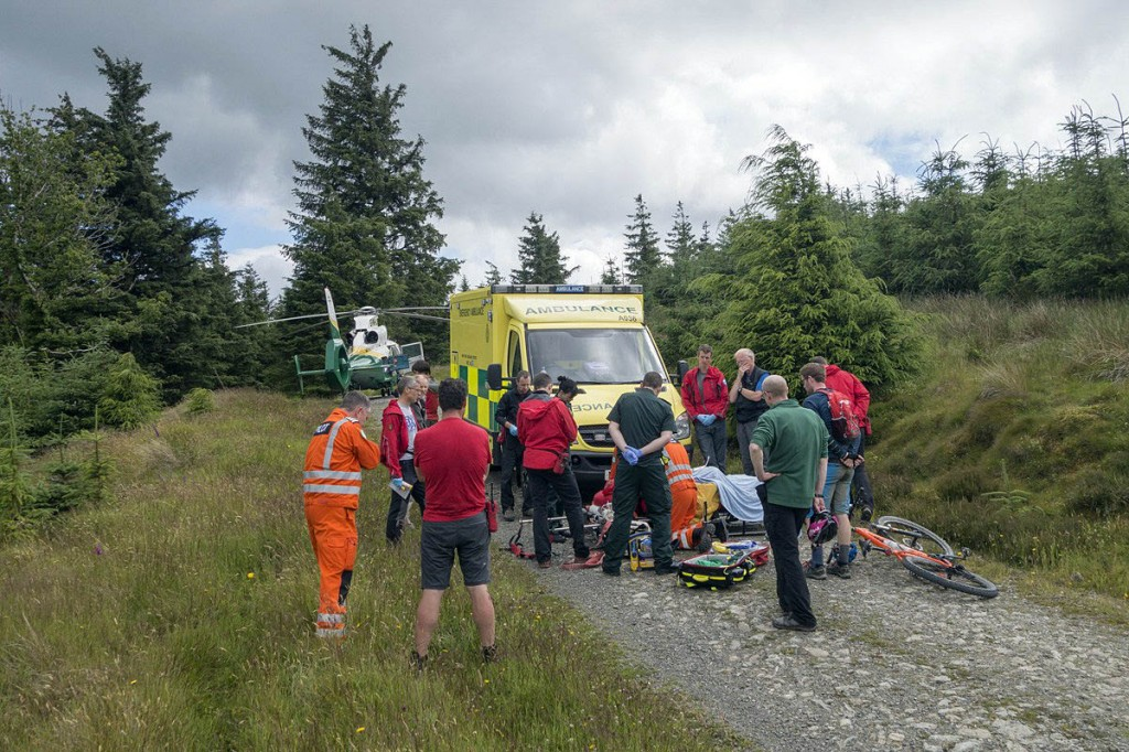 Rescuers at the scene of the crash in Whinlatter Forest. Photo: Keswick MRT