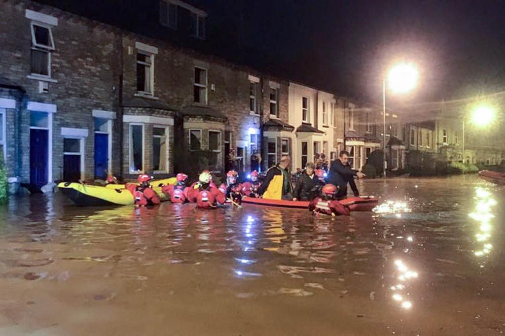 Mountain rescue swiftwater technicians take part in the York evacuations. Photo: Kewswick MRT