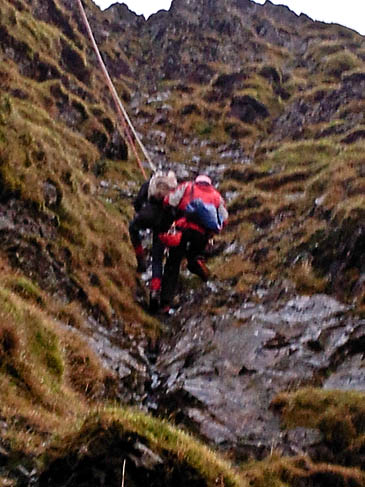The first casualty is retrieved. Photo: Keswick Mountain Rescue Team