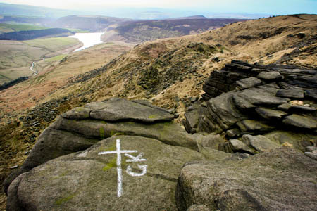 The marked stone on Kinder Scout, bearing George King's initials