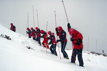 Kintail Mountain Rescue Team members in training for avalanche searches
