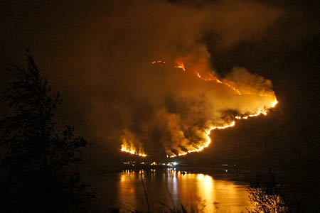 This dramatic night-time shot of the Kintail fire was shot by property manager Willie Fraser across Loch Duich