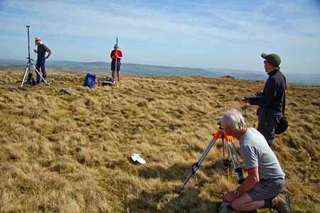 The surveyors at work on Kirkby Fells's summit