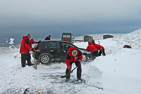 Other motorists were stranded at the site south-west of Nine Standards Rigg. Photo: Kirkby Stephen MRT
