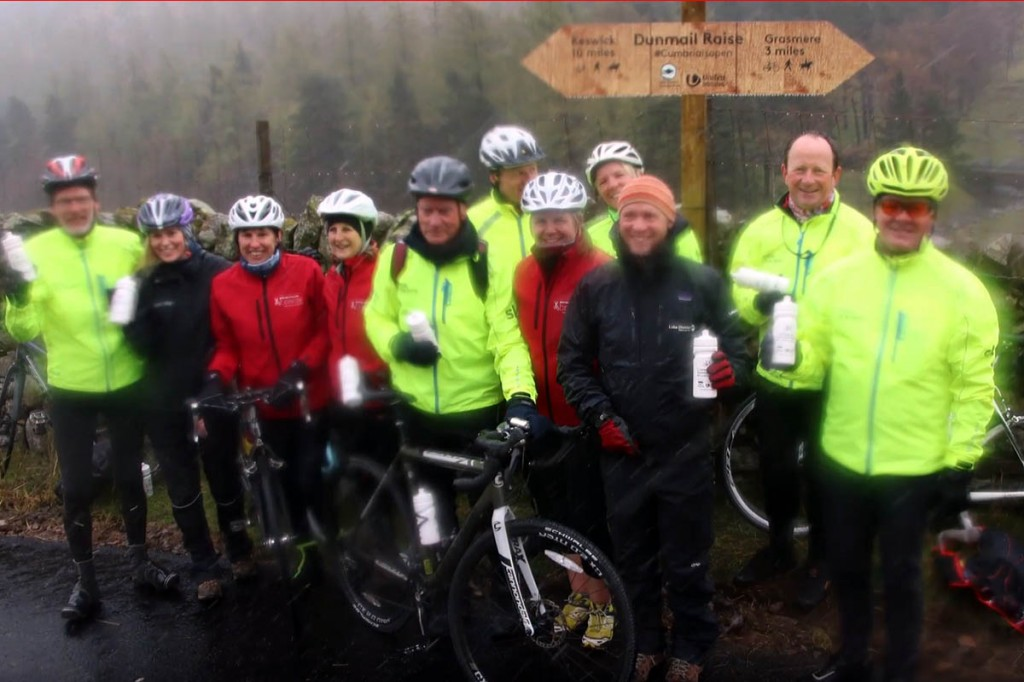 Cyclists gather at the opening on a wet Lake District day. Image: Lake District NPA