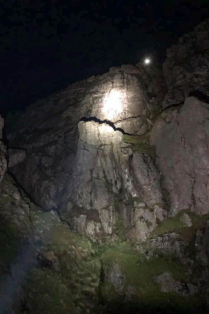 The rescue scene on Gimmer Crag. Photo: LAMRT